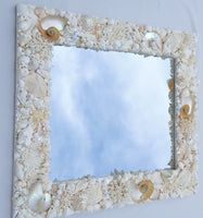 Custom Seashell Mirror for Beach Decor, Coastal Nautical Decor, Luxury Shell Wall Mirror, 32x36""