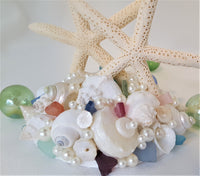 Beach Wedding Starfish Cake Topper, Nautical Seashell Wedding Cake Topper