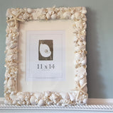 Beach Wedding Seashell Frame, White Shell Frame, Coastal Decor White Seashell Frame, 4 SIZES