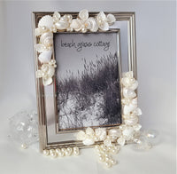 beach decor, beach frame, silver frame, seashell frame, shell frame, coastal decor, beach wedding frame, wedding shell frame
