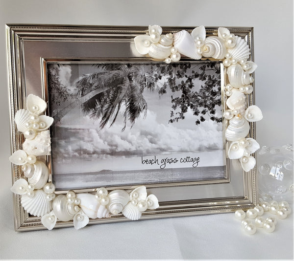 "Beach Decor Wedding Seashell Frame, Nautical Coastal Decor Anniversary Shell Frame, Beach Wedding Gift, 5x7"" or 8x10"" SILVER"
