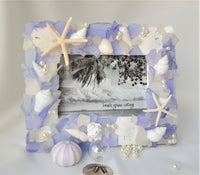 Beach Decor Sea Glass Frame, Nautical Beach Glass Frame, Coastal Seaglass Frame, LAVENDER,  4 Sizes