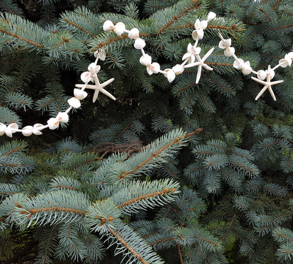 Beach Decor White Starfish Christmas Garland, Nautical Decor Starfish Garland, Nautical Decor WHITE SHELL Wedding Garland, 5FT