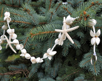 Beach Christmas Decor White Starfish Garland, Starfish WHITE SHELL Wedding Garland, 5FT