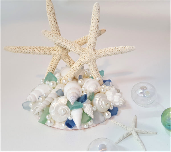"Beach Wedding Starfish Cake Topper, Nautical Seashell Wedding Cake Topper, ""OCEAN MIX"" or Choose Sea Glass Colors"