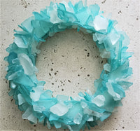 Sea Glass Wreath Beach Decor, Beach Glass Wreath, Seaglass Wreath, Sea Glass Decor Art - AQUA or ANY COLOR