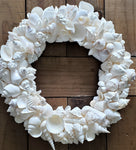 Seashell Wreath Beach Decor, Nautical Decor White Shell Wreath, Coastal Decor Sea Shell Wreath