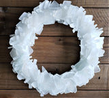 Beach Glass Wreath, Beach Decor Sea Glass Wreath, Seaglass Wreath, Sea Glass Decor in ANY COLOR - WHITE
