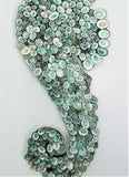 Nautical Beach Decor Sea Horse Wall Decor, Coastal Seahorse Wall Hanging of Aqua Limpet Shells, 23""