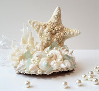 Starfish Seashell Beach Wedding Cake Topper, Nautical Coastal Sea Glass, Shell & Coral Wedding Cake Topper