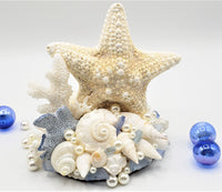 Beach Wedding Starfish Cake Topper, Seashell & Coral Beach Wedding Cake Topper