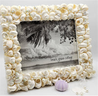 seashell frame, shell frame, turbo shell frame, beach decor, coastal decor, nautical decor, seashell gift, beach wedding frame