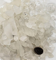 white sea glass, clear sea glass, chunky sea glass, clear beach glass, clear sea glass