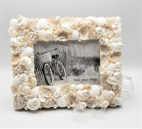 Beach Wedding White Seashell Frame, Nautical Beach Decor Coastal Shell Frame - 4 SIZES