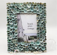 Beach Decor Seashell Frame, Nautical Decor Aqua Limpet Shell Frame, Coastal Decor Beach Frame in 4 SIZES