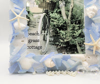 Beach Decor Sea Glass Frame, Nautical Beach Glass Frame, Coastal Seaglass Frame, BLUE, 4 SIZES