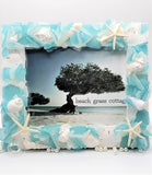 Beach Decor Sea Glass Frame, Nautical Decor Beach Glass Frame, Coastal Decor Seaglass Frame, AQUA, 4 SIZES