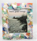 sea glass frame, beach glass frame, seaglass frame, seashell frame, beach decor, coastal decor