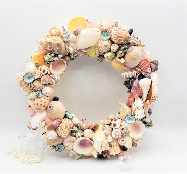 Seashell Wreath Beach Decor, Nautical Decor Colored Shell Wreath, Coastal Decor Sea Shell Wreath