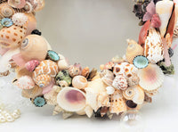 seashell wreath, shell wreath, sea shell wreath, coastal decor, beach decor, nautical decor
