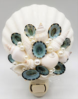 Beach Decor Seashell Night Light, Nautical Decor Shell Nite Night Lite, AQUA LIMPET
