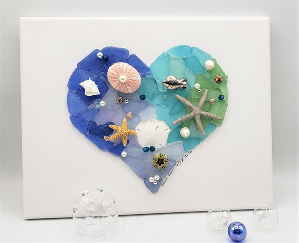 Sea Glass Decor Heart Wall Hanging, Nautical Beach Decor Beach Glass Art Canvas, Sea Glass Art, Wedding Gift