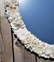 seashell mirror, shell mirror, custom shell mirror, white shell mirror