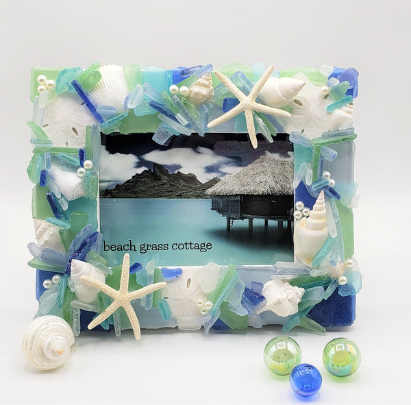 sea glass frame, beach glass frame, beach decor