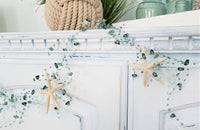 teal aqua beaded garland, beach graland, coastal garland, christmas garland