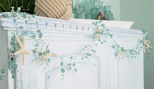 aqua beaded garland, beach graland, coastal garland, christmas garland