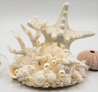 Beach Wedding Cake Topper w Seashells, Sea Glass, KNOBBY Starfish, & Coral - Nautical Coastal Wedding Cake Topper