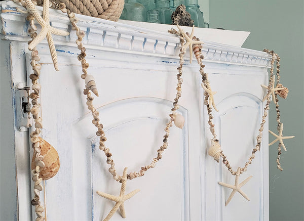 tiny seashell garland, shell garland, beach garland, coastal garland, nautical garland