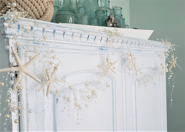 pearl garland, starfish garland, beach decor, coastal decor, beach wedding decor, pearl starfish garland, beach garland