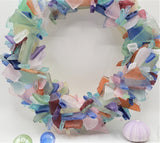 sea glass wreath, beach glass wreath, seaglass wreath, beach decor, coastal decor, sea glass decor