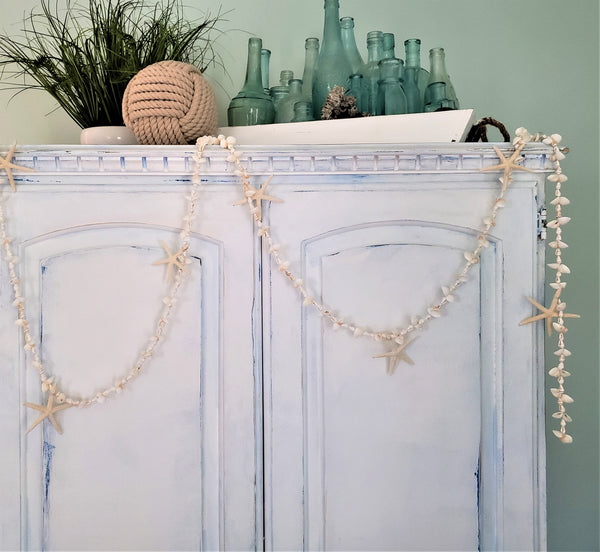 Beach Decor White Seashell & Starfish Christmas Garland, Coastal Beach Wedding Shell Garland, Nautical Decor **LONGER WHITE SHELL** Garland, 8.5FT