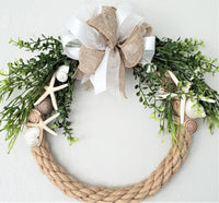 rope wreath, nautical wreath, coastal wreath, seashell wreath, beach wreath