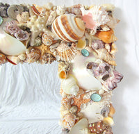 custom shell mirror, custom seashell mirror, luxury seashell mirror, luxury shell mirror, customized seashell mirror,