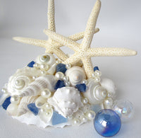 Nautical Wedding Cake Topper, beach wedding cake topper, starfish wedding cake topper, coastal wedding cake topper