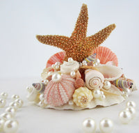 Beach Wedding Sugar Starfish Cake Topper, Nautical Coastal Seashell Wedding Cake Topper