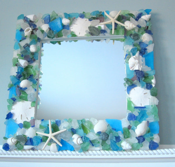 sea glass mirror, beach glass mirror, seaglass mirror, seashell mirror, sea glass decor, sea glass art, beach decor