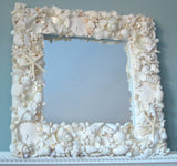 Seashell Mirror for Beach Decor, Nautical Coastal Shell Wall Mirror, COLORED or WHITE