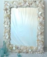 Custom Seashell Mirror for Beach Decor, Coastal Nautical Decor, Luxury White Shell Wall Mirror