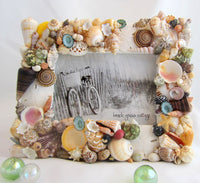 seashell frame, shell frame, seashell decor, shell decor, colored shell frame, white shell frame