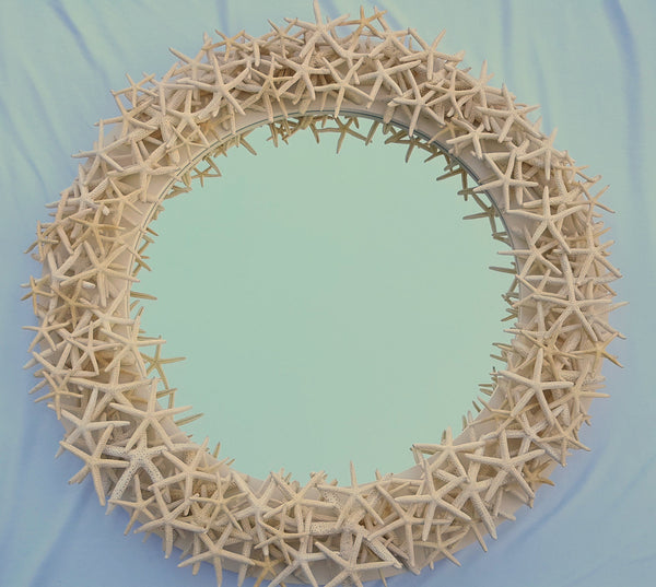 white starfish mirror, white star fish mirror, custom starfish mirror, custom white starfish mirror, beach mirror