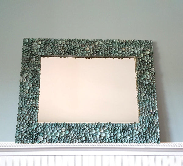 custom seashell mirror, custom shell mirror, seashell wall mirror, aqua limpet shell mirror