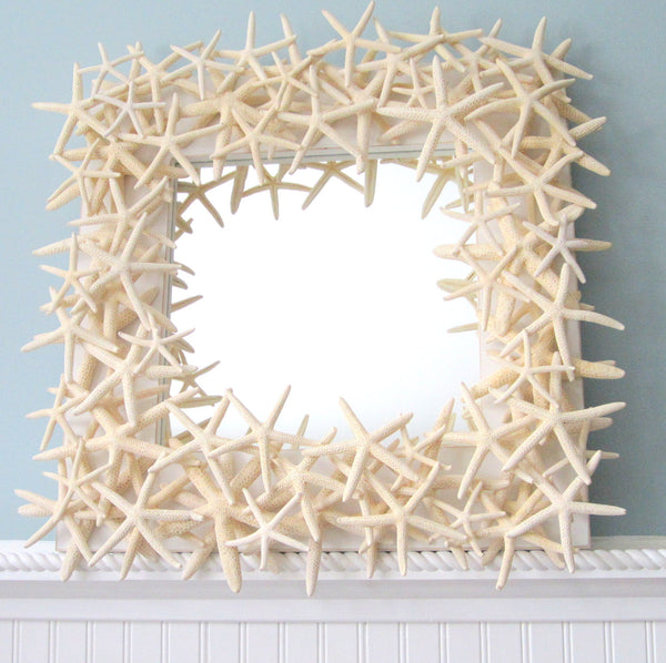 starfish mirror, starfish wall mirror, star fish mirror, white starfish mirror, coastal mirror, coastal home decor, beach mirror