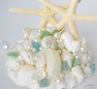 beach wedding cake topper, starfish wedding cake topper, nautical wedding cake topper, coastal wedding cake topper, seashell wedding cake topper