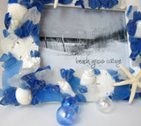 sea glass frame, beach glass frame, seaglass frame, seashell frame, sea glass picture frame, blue sea glass frame