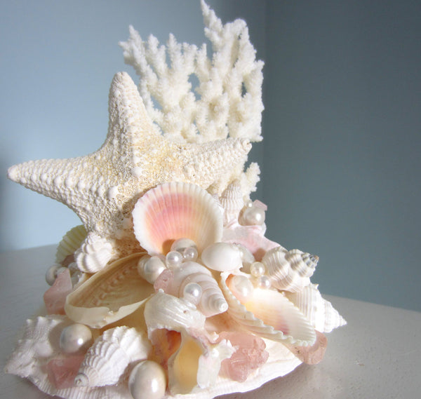 beach wedding cake topper, starfish cake topper, coral cake topper, seashell cake topper, nautical cake topper, beach cake topper, coastal cake topper