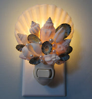 seashell night light, shell night light, seashell night lite, beach decor, coastal decor, nautical decor, beach gift, coastal gift